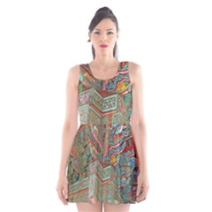 Traditional Korean Painted Paterns Scoop Neck Skater Dress