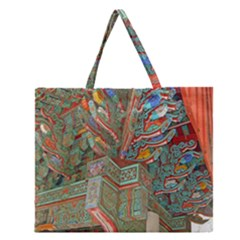 Traditional Korean Painted Paterns Zipper Large Tote Bag