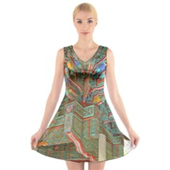 Traditional Korean Painted Paterns V-Neck Sleeveless Skater Dress
