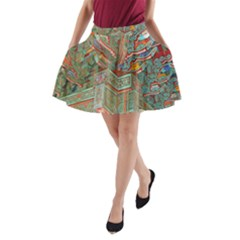 Traditional Korean Painted Paterns A-Line Pocket Skirt
