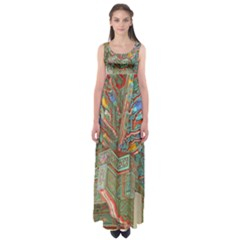 Traditional Korean Painted Paterns Empire Waist Maxi Dress
