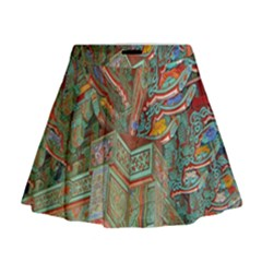 Traditional Korean Painted Paterns Mini Flare Skirt
