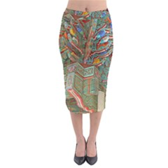 Traditional Korean Painted Paterns Midi Pencil Skirt