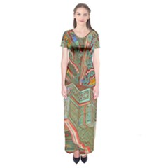 Traditional Korean Painted Paterns Short Sleeve Maxi Dress