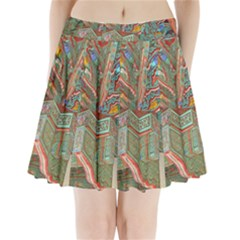 Traditional Korean Painted Paterns Pleated Mini Skirt