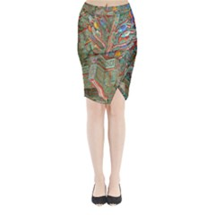 Traditional Korean Painted Paterns Midi Wrap Pencil Skirt