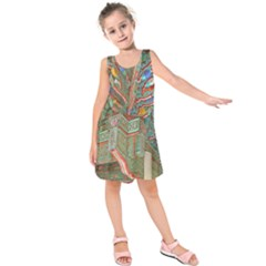 Traditional Korean Painted Paterns Kids  Sleeveless Dress