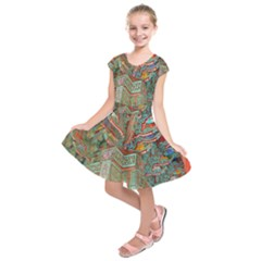 Traditional Korean Painted Paterns Kids  Short Sleeve Dress