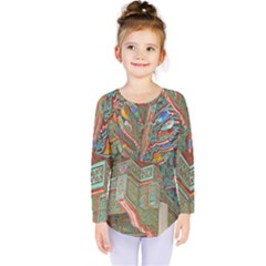 Traditional Korean Painted Paterns Kids  Long Sleeve Tee