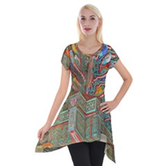 Traditional Korean Painted Paterns Short Sleeve Side Drop Tunic