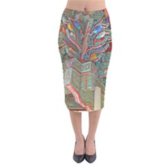 Traditional Korean Painted Paterns Velvet Midi Pencil Skirt