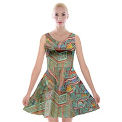 Traditional Korean Painted Paterns Velvet Skater Dress