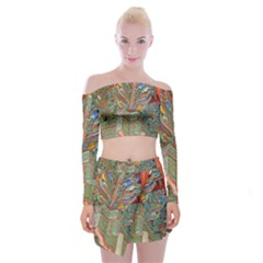 Traditional Korean Painted Paterns Off Shoulder Top with Skirt Set