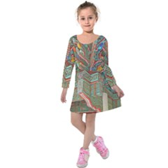 Traditional Korean Painted Paterns Kids  Long Sleeve Velvet Dress