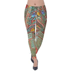 Traditional Korean Painted Paterns Velvet Leggings