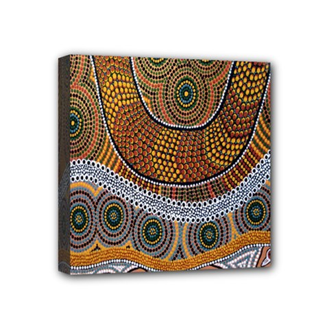 Aboriginal Traditional Pattern Mini Canvas 4  x 4
