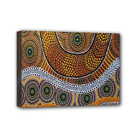Aboriginal Traditional Pattern Mini Canvas 7  x 5
