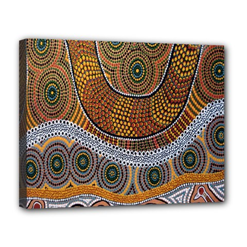 Aboriginal Traditional Pattern Canvas 14  x 11