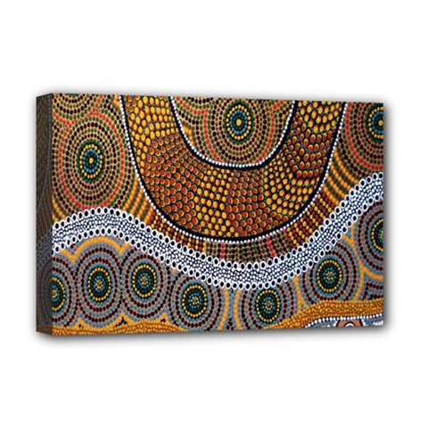 Aboriginal Traditional Pattern Deluxe Canvas 18  x 12