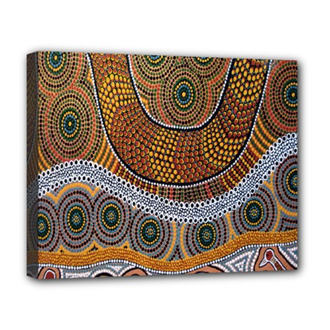 Aboriginal Traditional Pattern Deluxe Canvas 20  x 16