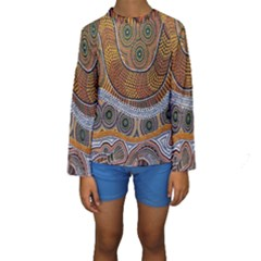Aboriginal Traditional Pattern Kids  Long Sleeve Swimwear