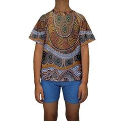 Aboriginal Traditional Pattern Kids  Short Sleeve Swimwear