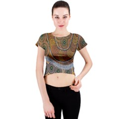 Aboriginal Traditional Pattern Crew Neck Crop Top