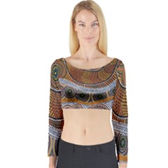 Aboriginal Traditional Pattern Long Sleeve Crop Top