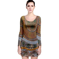 Aboriginal Traditional Pattern Long Sleeve Bodycon Dress