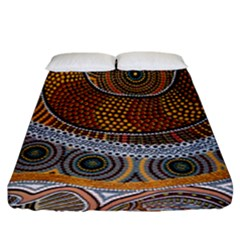 Aboriginal Traditional Pattern Fitted Sheet (King Size)