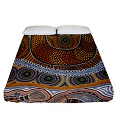 Aboriginal Traditional Pattern Fitted Sheet (California King Size)