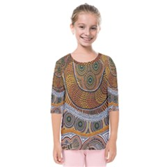 Aboriginal Traditional Pattern Kids  Quarter Sleeve Raglan Tee
