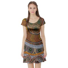Aboriginal Traditional Pattern Short Sleeve Skater Dress