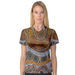 Aboriginal Traditional Pattern Women s V-Neck Sport Mesh Tee