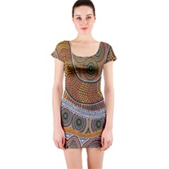 Aboriginal Traditional Pattern Short Sleeve Bodycon Dress