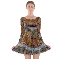Aboriginal Traditional Pattern Long Sleeve Skater Dress