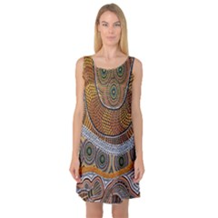 Aboriginal Traditional Pattern Sleeveless Satin Nightdress