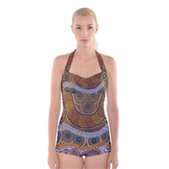 Aboriginal Traditional Pattern Boyleg Halter Swimsuit