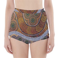 Aboriginal Traditional Pattern High-Waisted Bikini Bottoms
