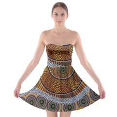 Aboriginal Traditional Pattern Strapless Bra Top Dress