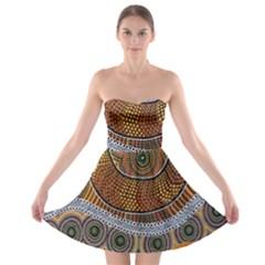 Aboriginal Traditional Pattern Strapless Bra Top Dress
