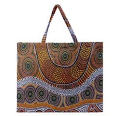 Aboriginal Traditional Pattern Zipper Large Tote Bag