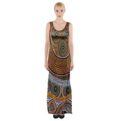 Aboriginal Traditional Pattern Maxi Thigh Split Dress