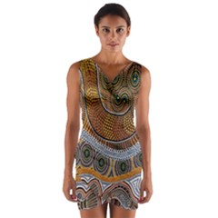 Aboriginal Traditional Pattern Wrap Front Bodycon Dress