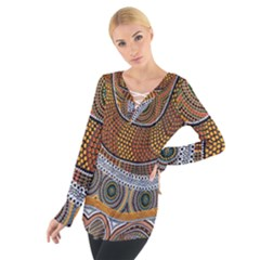 Aboriginal Traditional Pattern Women s Tie Up Tee