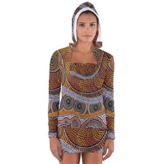 Aboriginal Traditional Pattern Women s Long Sleeve Hooded T-shirt
