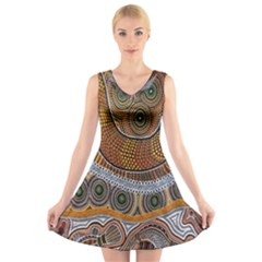Aboriginal Traditional Pattern V-Neck Sleeveless Skater Dress
