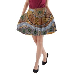 Aboriginal Traditional Pattern A-Line Pocket Skirt