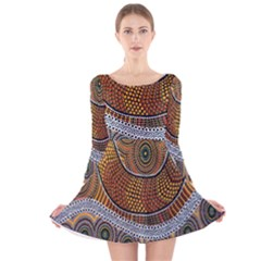 Aboriginal Traditional Pattern Long Sleeve Velvet Skater Dress