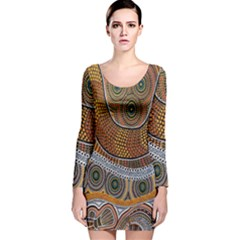 Aboriginal Traditional Pattern Long Sleeve Velvet Bodycon Dress